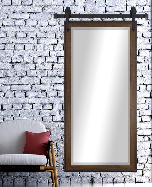 American Made Rayne Timber Estate Beveled Wall Mirror with Barn Door Kit (R052BT) *Suggested Retail*