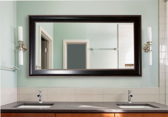 American Made Rayne Black With Silver Caged Trim Double Vanity Mirror - DV008 ~Suggested Retail~