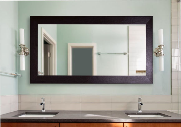 American Made Rayne Wide Brown Leather Double Vanity Mirror (DV022) *Suggested Retail*