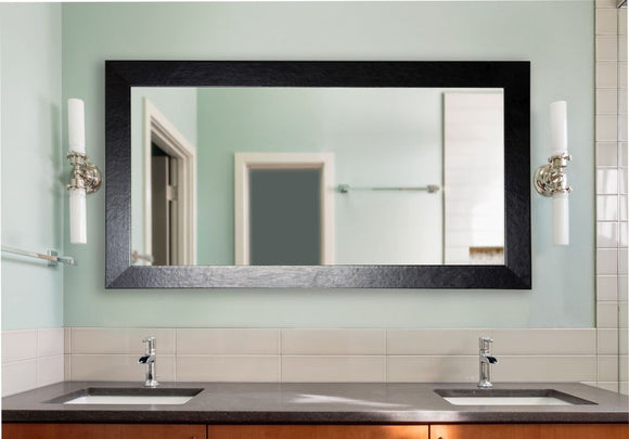 American Made Rayne Black Wide Leather Double Vanity Wall Mirror - DV037 ~Suggested Retail~