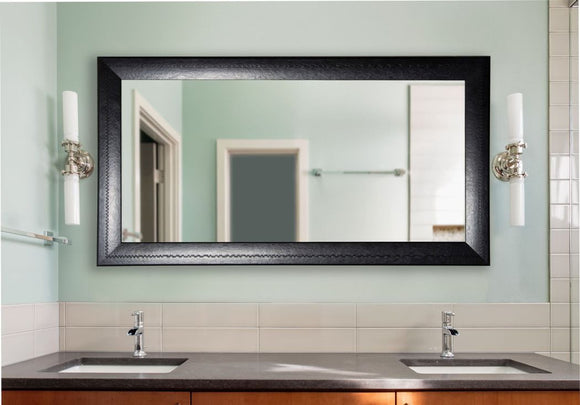 American Made Rayne Stitched Black Leather Double Vanity Mirror (DV038) *Suggested Retail*