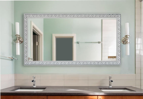 American Made Rayne French Victorian White Double Vanity Wall Mirror (DV039) *Suggested Retail*