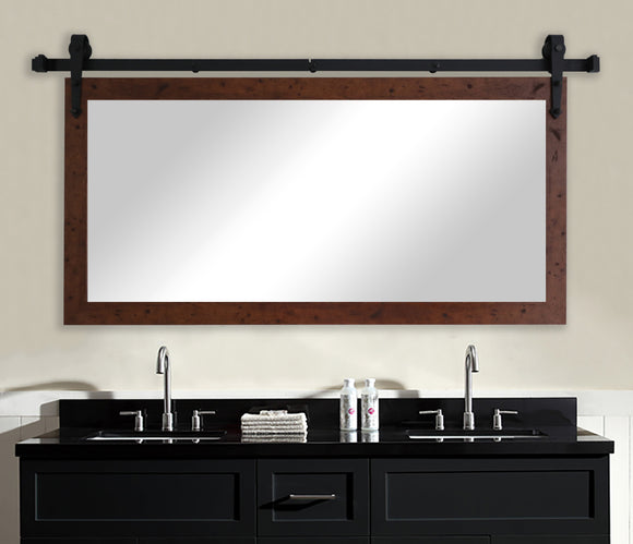 American Made Rayne Rustic Dark Walnut Non-Bevel Wall Mirror with Custom Length Barn Door Kit (DV061) *Suggested Retail*