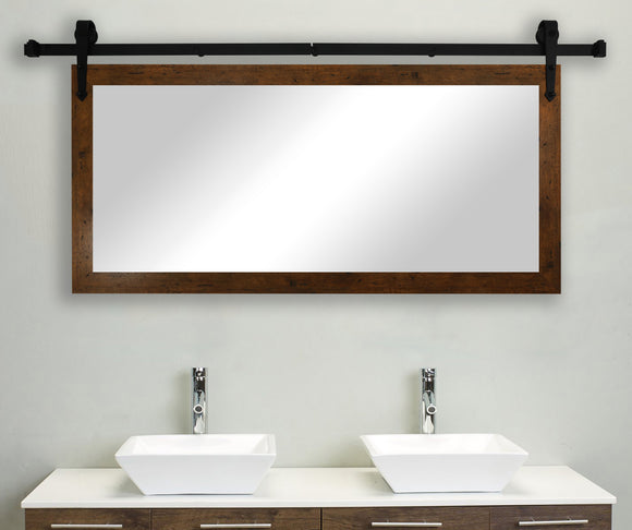 American Made Rayne Rustic Light Walnut Non-Bevel Wall Mirror with Custom Length Barn Door Kit (DV062) *Suggested Retail*