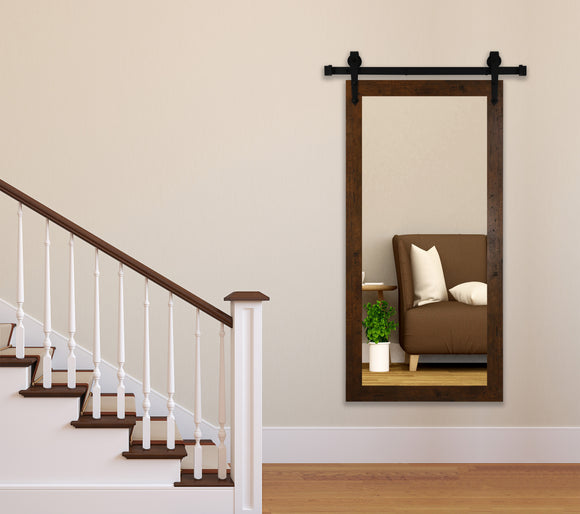 American Made Rustic Light Walnut Wall Mirror with 3' Barn Door Kit (DV062-3V) *Suggested Retail*