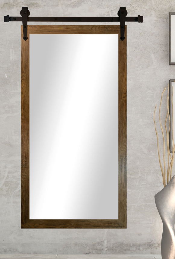American Made Gray Barnwood Accent Mirror with 3' Barn Door Kit (DV064-3V) *Suggested Retail*
