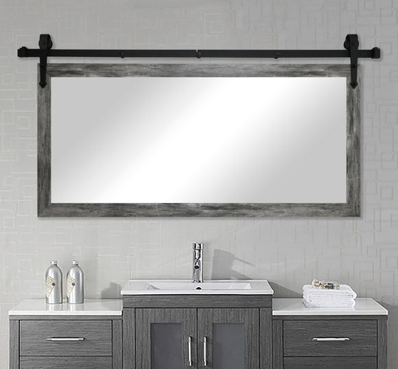 American Made Rayne Gray Barnwood Non-Bevel Wall Mirror with Custom Length Barn Door Kit (DV064) *Suggested Retail*