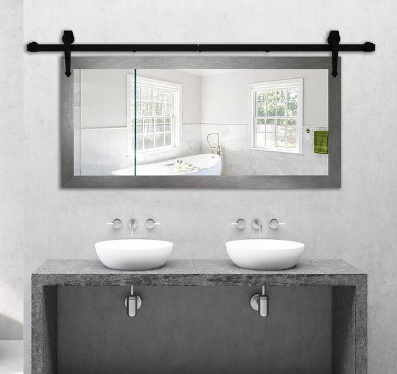 Non-Beveled Wall Mirror with Barn Door Kit (DV084) *Suggested Retail*
