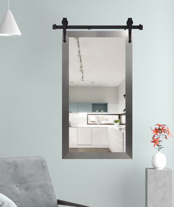American Made Modern Brushed Nickel Wall Mirror with 3' Barn Door Kit (DV088-3V) *Suggested Retail*