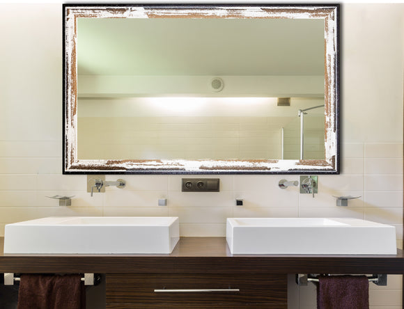 American Made Rayne Brown and Cream Distressed Double Vanity Mirror (DV109) *Suggested Retail*