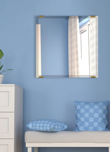 "American Made Beveled Frameless Rectangular Wall Mirror (B-1/4-FRMLS-ANTQ GLD-31"") *Suggested Retail*"