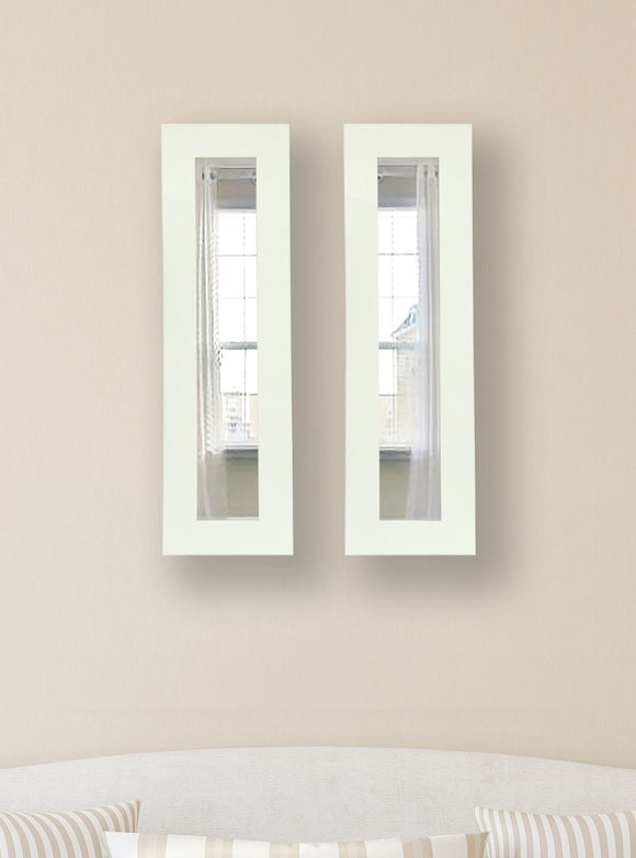American Made Rayne White Satin Wide Panel Mirror (P36 Set of 2) *Suggested Retail*
