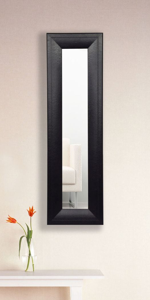 American Made Rayne Stitched Black Leather Panel Mirror (P38) *Suggested Retail*