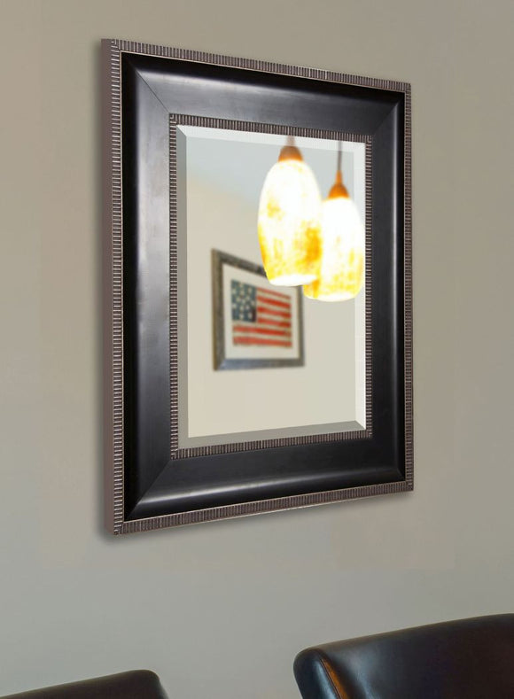 American Made Rayne Black With Silver Caged Trim Mirror - R008 ~Suggested Retail~