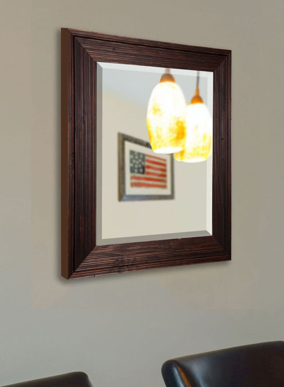 American Made Rayne Barnwood Brown Beveled Vanity Wall Mirror (R017) *Suggested Retail*