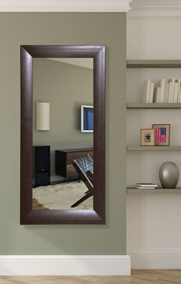 American Made Rayne Espresso Leather Tall Mirror Size 30.75x65.75 - R023T ~Suggested Retail~