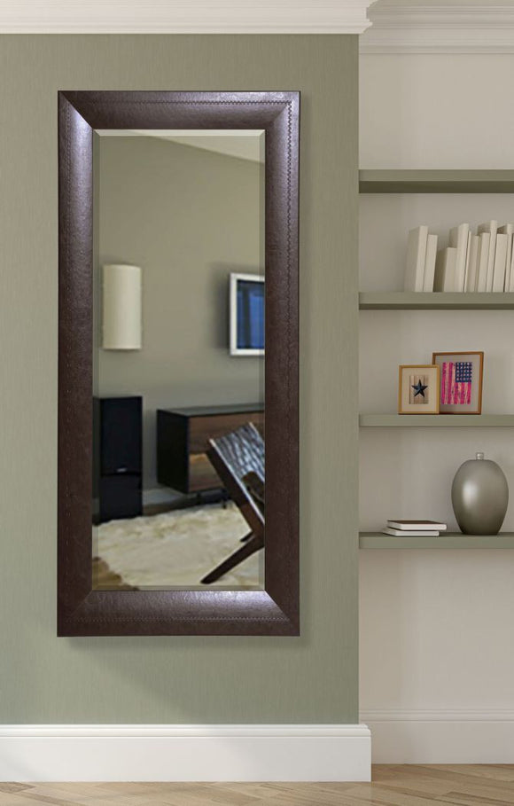 American Made Rayne Espresso Leather Beveled Tall Mirror (R023BT) *Suggested Retail*