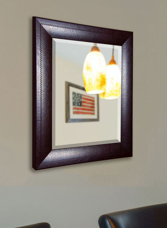 American Made Rayne Espresso Leather Beveled Wall Mirror (R023) *Suggested Retail*