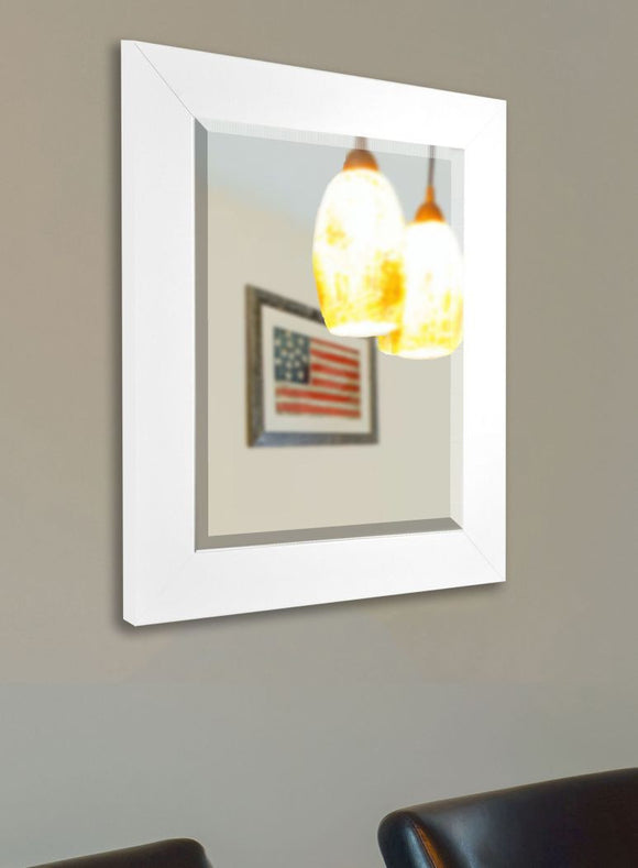American Made Rayne White Satin Wide Wall Mirror - R036 ~Suggested Retail~