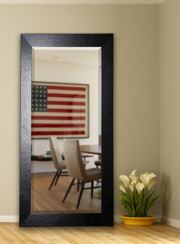 American Made Rayne Black Wide Leather Beveled Tall Mirror (R037BT) *Suggested Retail*