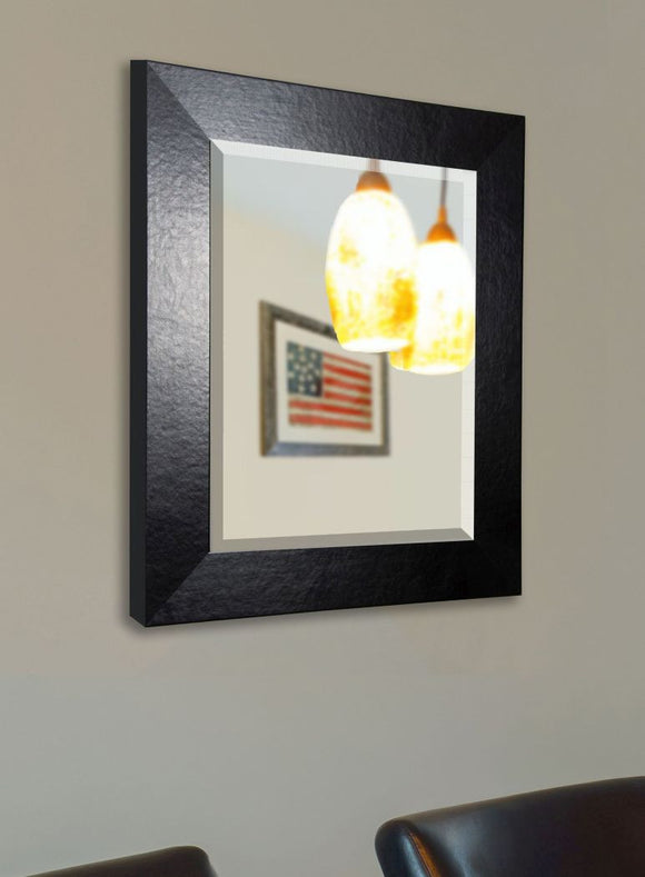 American Made Rayne Black Wide Leather Wall Mirror - R037 ~Suggested Retail~