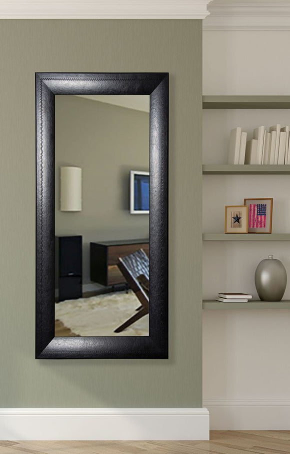 American Made Rayne Stitched Black Leather Tall Mirror Size 30x65 - R038T ~Suggested Retail~