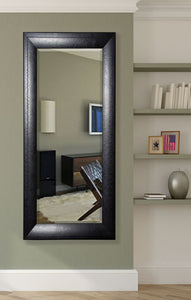 American Made Rayne Stitched Black Leather Extra Tall Floor Mirror (R038XT) *Suggested Retail*