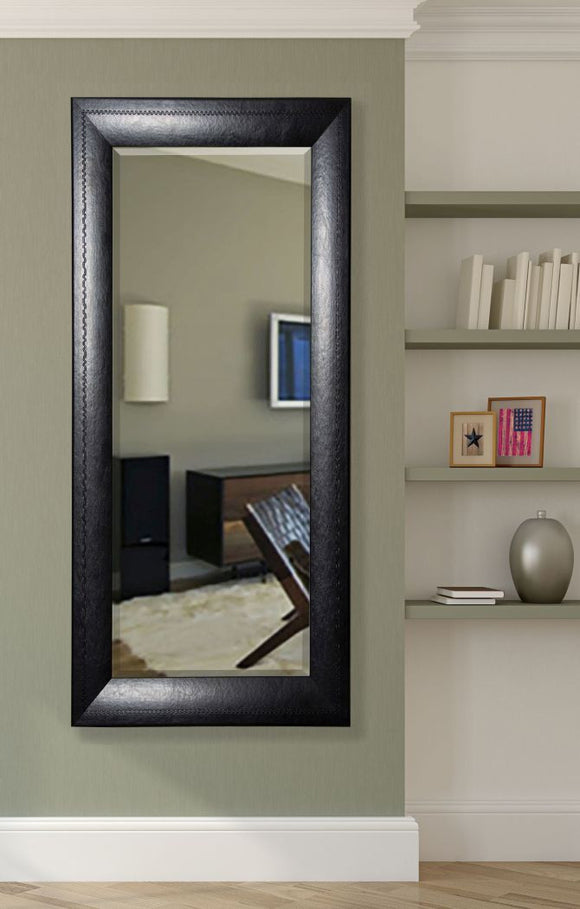 American Made Rayne Stitched Black Leather Mirror 30.75x71.25 - R038XT ~Suggested Retail~