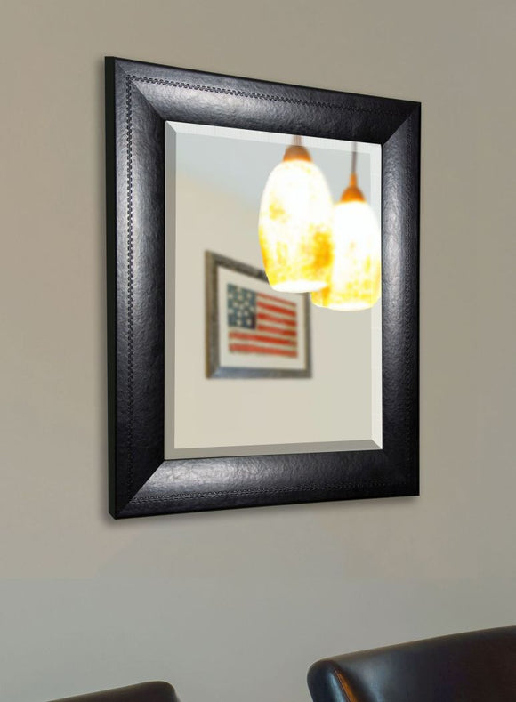 American Made Rayne Stitched Black Leather Wall Mirror - R038 ~Suggested Retail~