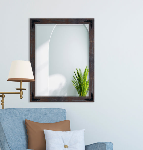 American Made Industrial Steel Beveled Rectangle Wall Mirror with Decorative Black Corner Brackets (R043-BCB)