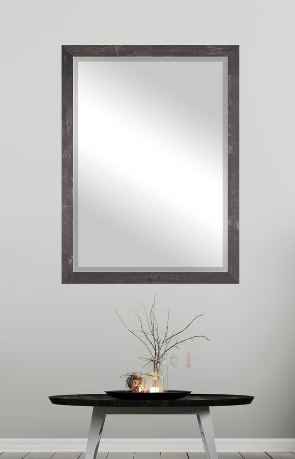 American Made Rayne American Barnwood Brown Beveled Rectangle Wall Mirror (R044) *Suggested Retail*