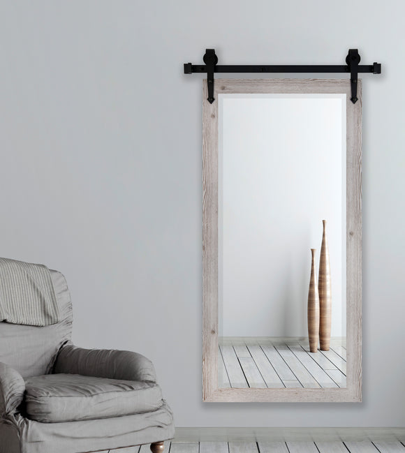 American Made Rayne White Washed Antique Beveled Wall Mirror with Barn Door Kit (R059BT-3V) *Suggested Retail*