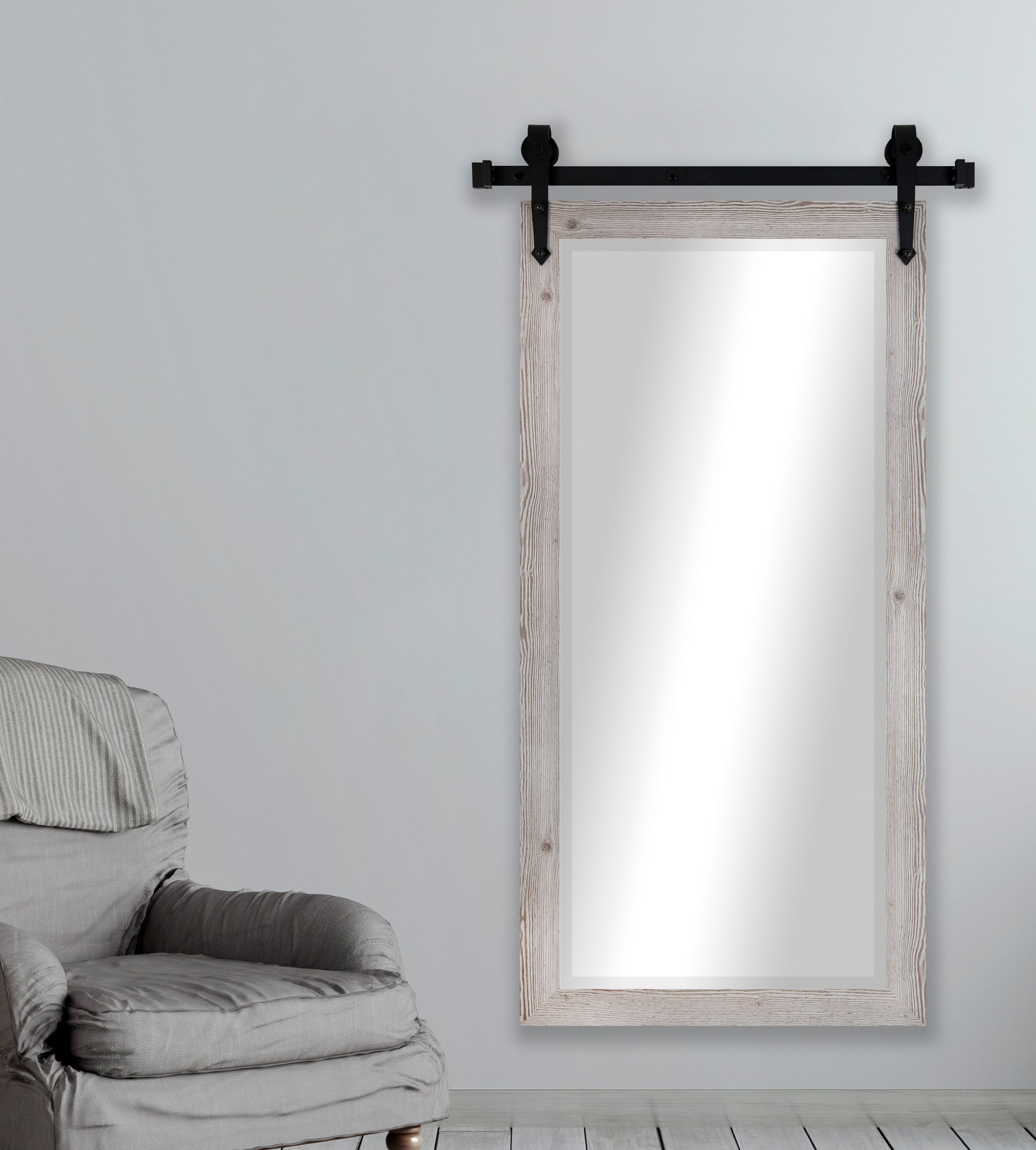 American Made Rayne White Washed Antique Beveled Wall Mirror With Barn Rayne Mirrors Inc