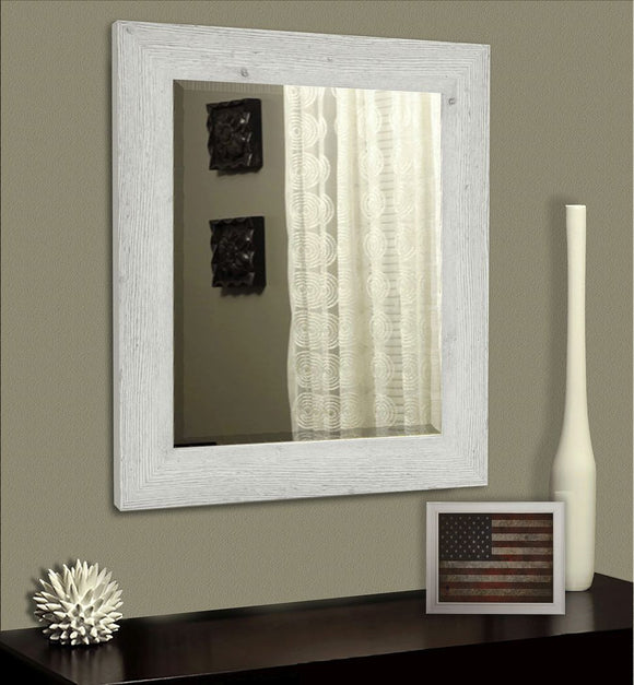 American Made Rayne White Washed Antique Beveled Wall Mirror (R059) *Suggested Retail*