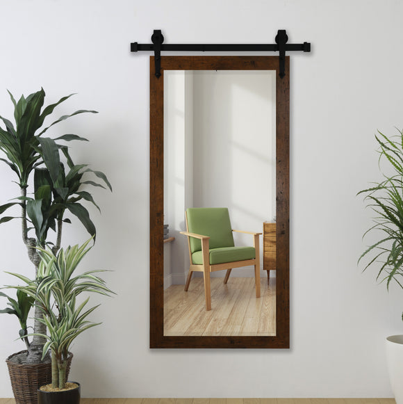 American Made Rayne Rustic Light Walnut Beveled Wall Mirror with Barn Door Kit (R062XT) *Suggested Retail*