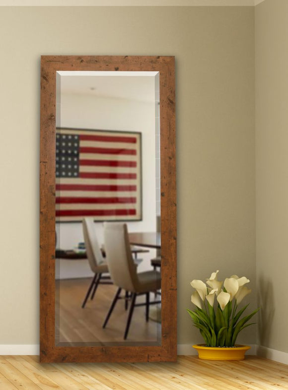 American Made Rayne Rustic Light Walnut Beveled Tall Mirror (R062BT) *Suggested Retail*