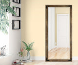 American Made Barnwood Brown Extra Tall Mirror with Decorative Black Corner Brackets (R063XT-BCB) *Suggested Retail*