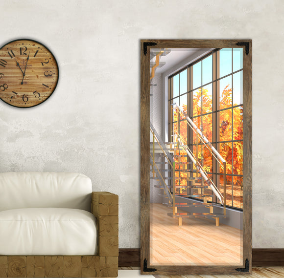 American Made Barnwood Brown Extra Tall Mirror with Decorative Black Corner Brackets (R063BT-BCB) *Suggested Retail*