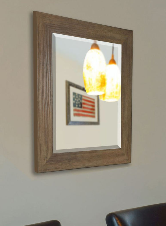 American Made Rayne Brown Barnwood Beveled Wall Mirror (R063) *Suggested Retail*