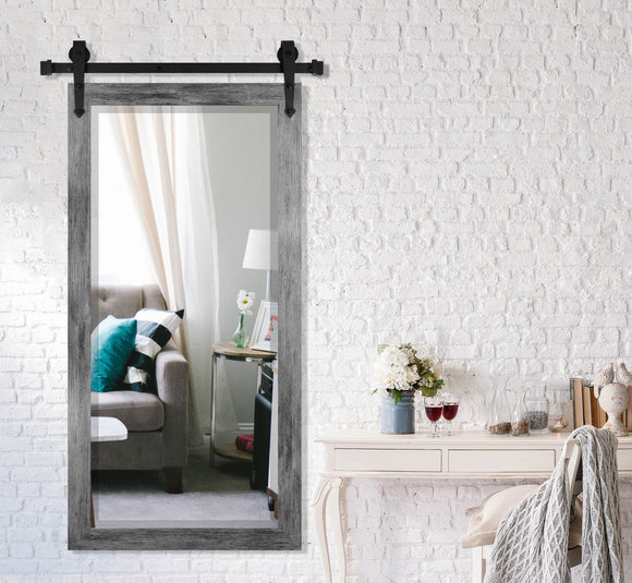 American Made Rayne Gray Barnwood Beveled Wall Mirror with barn Door Kit (R064BT-3V) *Suggested Retail*