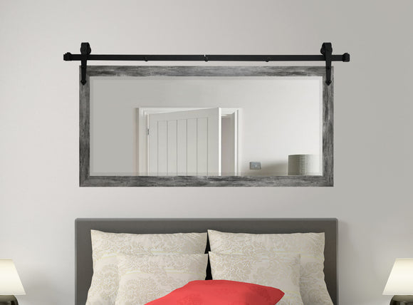 American Made Rayne Gray Barnwood Beveled Wall Mirror with Barn Door Kit (R064) *Suggested Retail*