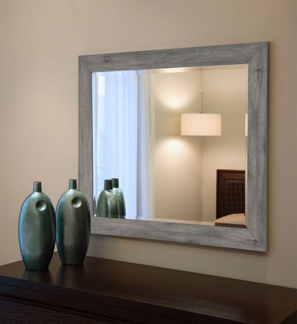 American Made Rayne Grey Barnwood Beveled Wall Mirror (R064) *Suggested Retail*