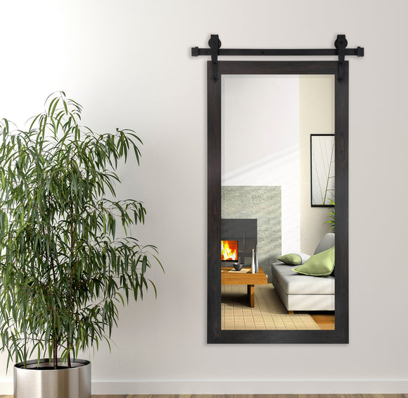American Made Rayne Black Walnut Beveled Wall Mirror with Barn Door Kit (R068BT) *Suggested Retail*