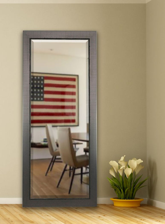 American Made Rayne Silver Swift Extra Tall Floor Mirror Size 30X70.5 - R083XT ~Suggested Retail~