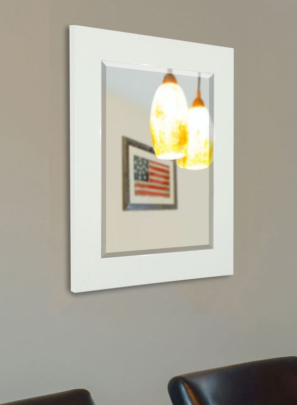 American Made Rayne Delta White Beveled Wall Mirror (R087) *Suggested Retail*