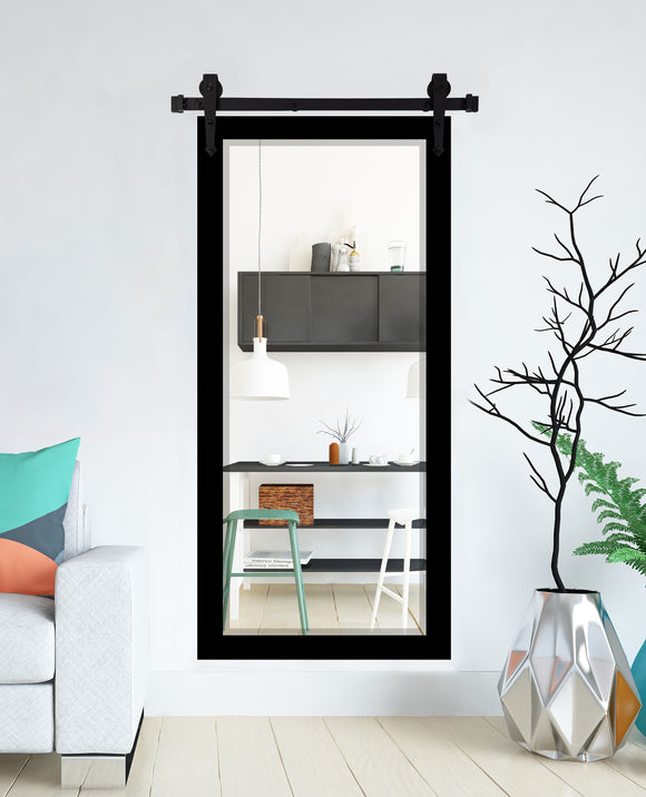 American Made Black Satin Beveled Wall Mirror with 3' Barn Door Kit (R089XT-3V) *Suggested Retail*