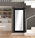 American Made Black Satin Beveled Wall Mirror with 3' Barn Door Kit (R089BT-3V) *Suggested Retail*