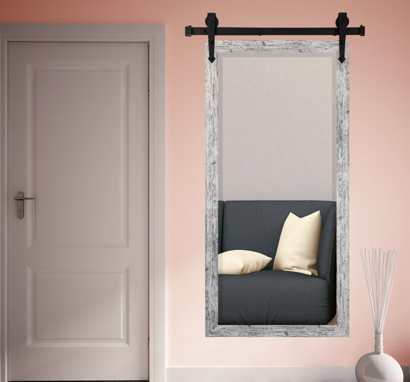 American Made Rayne White Weathered Farmhouse Beveled Wall Mirror with Barn Door Kit (R093BT-3V) *Suggested Retail*