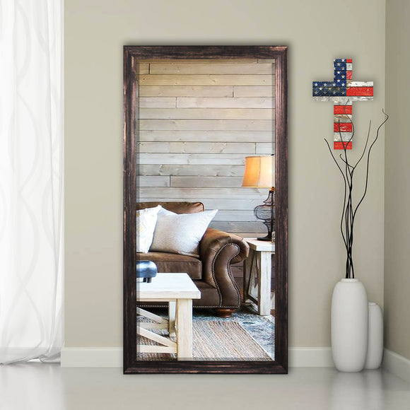American Made Rayne Rustic Dark Walnut Extra Tall Floor Mirror (R0102XT) *Suggested Retail*