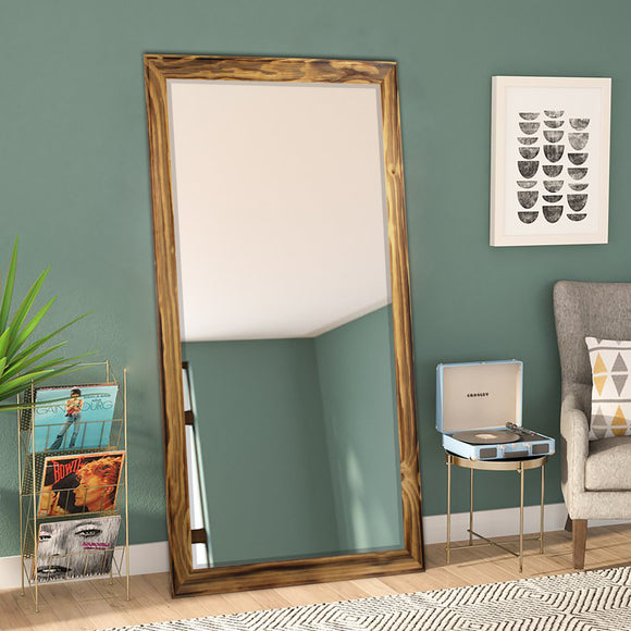 American Made Rayne Rustic Natural Wood Beveled Tall Mirror (R0103BT) *Suggested Retail*